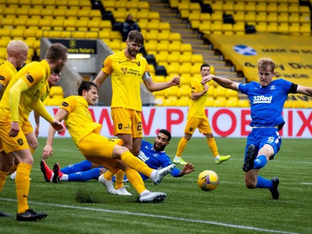 Rangers defender Filip Helander gets a shot away in the Scottish Premiership clash with Livingston on August 16, 2020