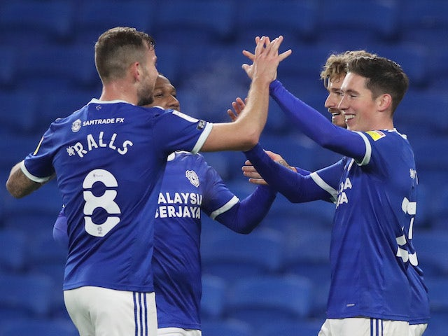 Cardiff City's Harry Wilson celebrates scoring with teammates against Barnsley on November 3, 2020