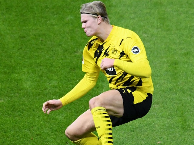 Erling Braut Haaland in action for Borussia Dortmund on November 21, 2020