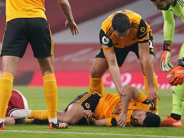 Raul Jimenez lies unconscious during the game between Arsenal and Wolves on November 29, 2020