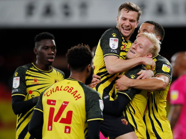 Will Hughes celebrates scoring for Watford against Derby County in the Championship on February 19, 2021