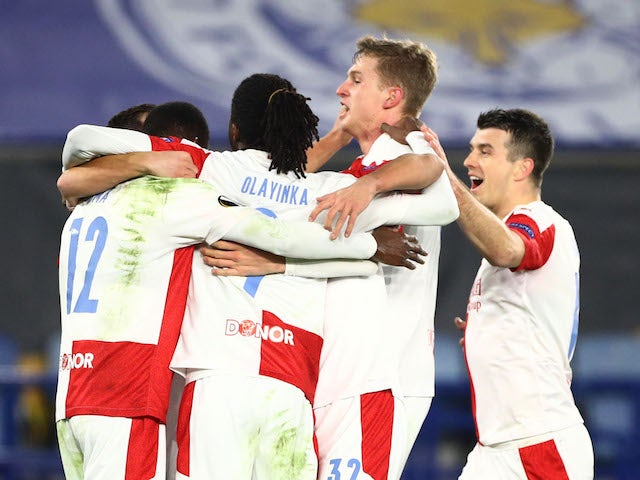 Slavia Prague's Abdallah Sima celebrates scoring against Leicester City in the Europa League on February 25, 2021