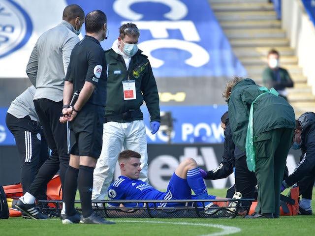 Leicester City midfielder Harvey Barnes is taken off injured against Arsenal on February 28, 2021