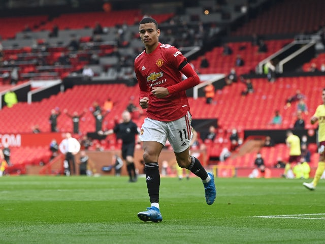 Mason Greenwood in action for Manchester United in April 2021