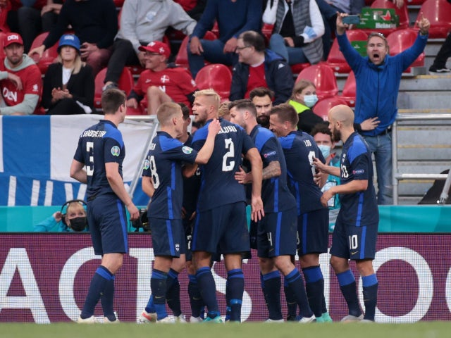 Finland's Joel Pohjanpalo celebrates scoring their first goal against Denmark at Euro 2020 on June 12, 2021