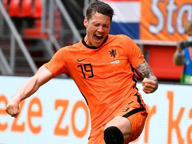Netherlands' Wout Weghorst celebrates scoring on June 6, 2021