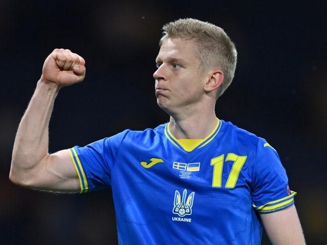 Ukraine's Oleksandr Zinchenko celebrates after the match on June 29, 2021