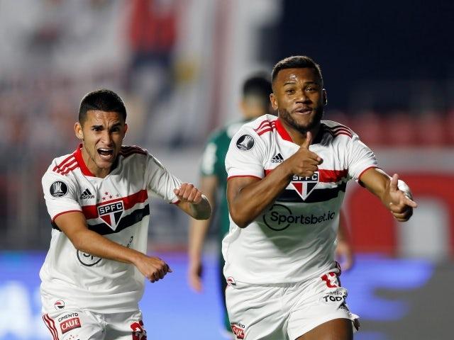 لوان ساو باولو يحتفل بتسجيل هدفه الأول في شباك بالميراس ، في الصورة في 10 أغسطس 2021