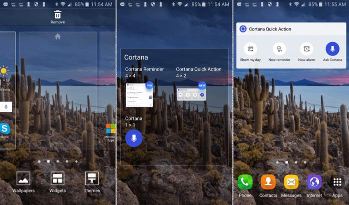 Cortana Widget on Android