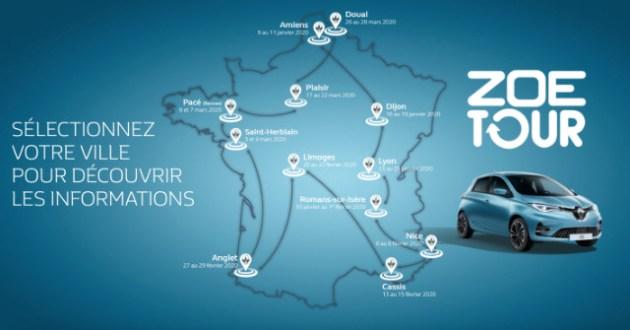 Carte de France Zoé Tour 2020