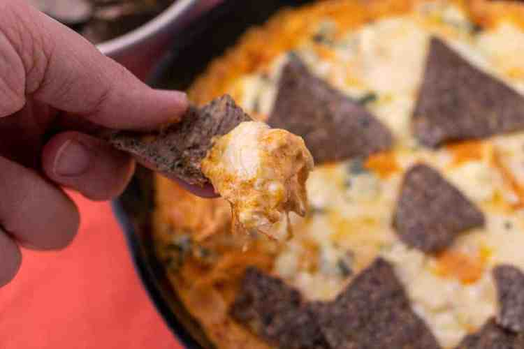 A close up of a chip with buffalo chicken dip on it with the jack o lantern buffalo chicken dip in the back ground