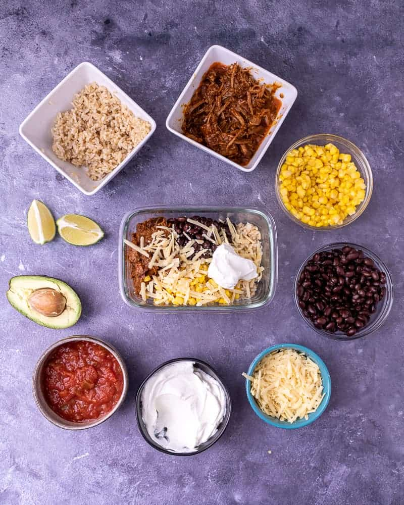 Process shot of building the burrito bowl