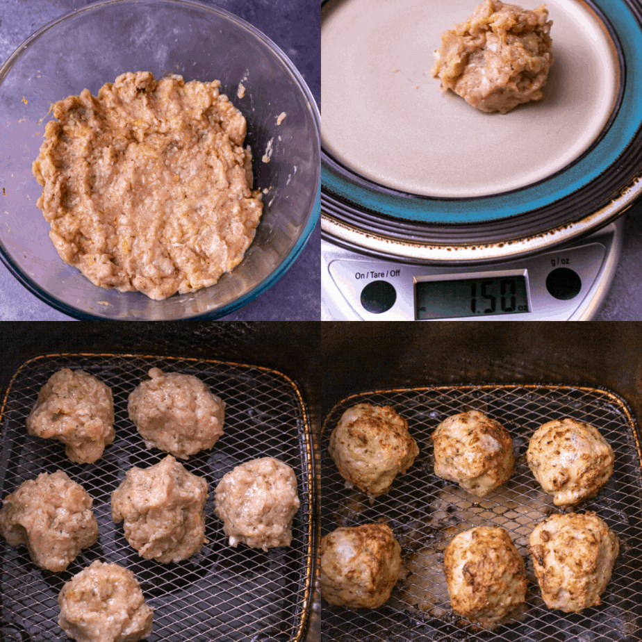 Process photos on how to make greek meatballs
