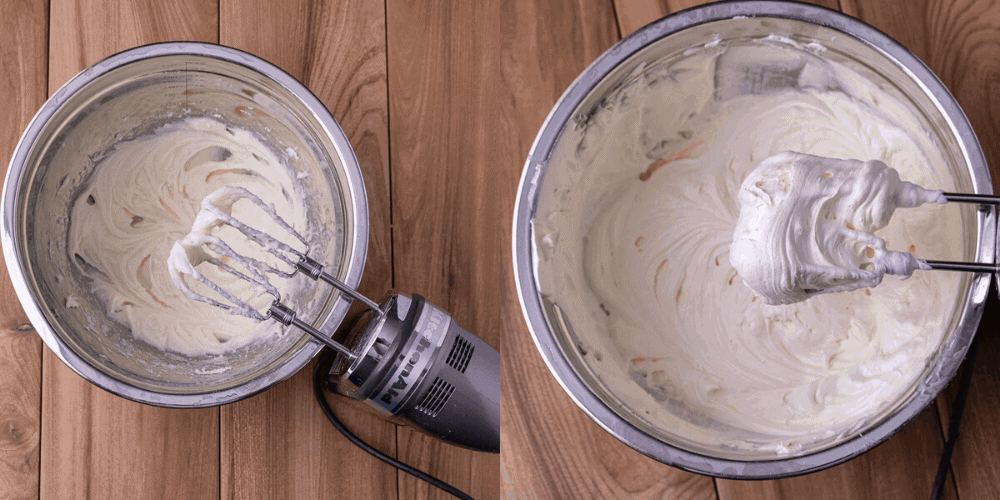 Process photos to show the consistency of the cream cheese mixture.
