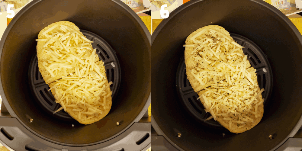2 process shots showing how to add the cheese and seasoning to bread in the air fryer basket.