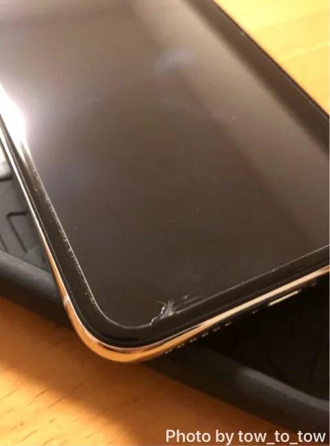 iPhoneX前面ガラスヒビ