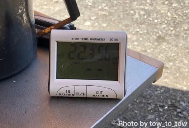 浩庵キャンプ場 6月気温日陰温度計