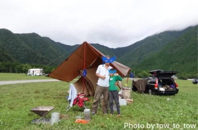 ふもとっぱら 父子キャンプ 記念撮影