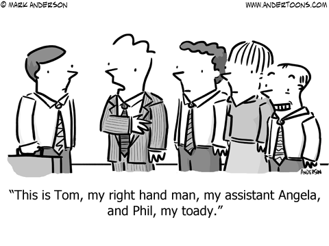 right hand man toady business cartoon