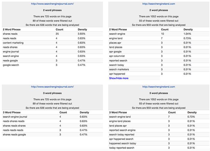 page comparison screen shot
