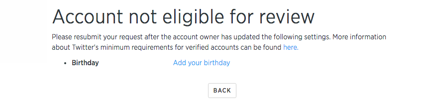 Verified Twitter Account Application Process - Step 3
