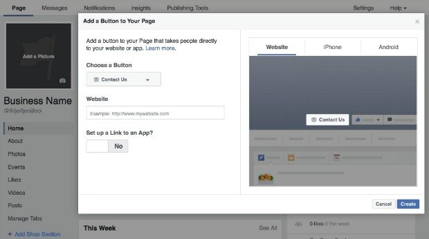 How to Create a Facebook Business Page - Add a Button