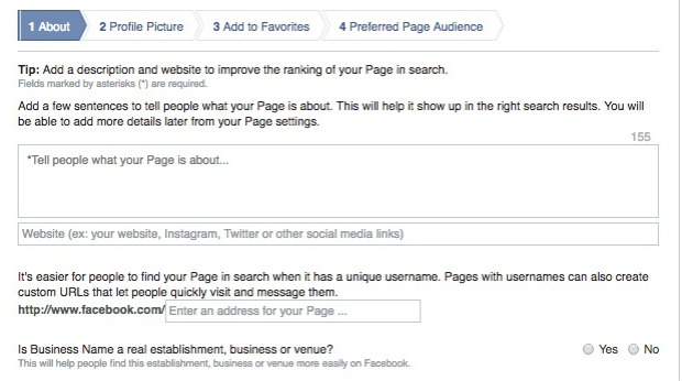 How to Create a Facebook Business Page - Describe Your Business