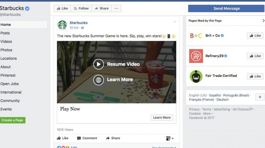 50 Facebook Page Examples to Keep Your Brand Page Fresh - Starbucks
