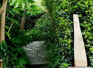 Overgrown pathways with 'Shaft and Circle' 1973