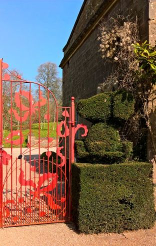 Red Gate entrance to the garden and topiary.