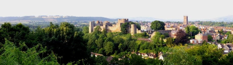 panoramic of Ludlow town, castle and church