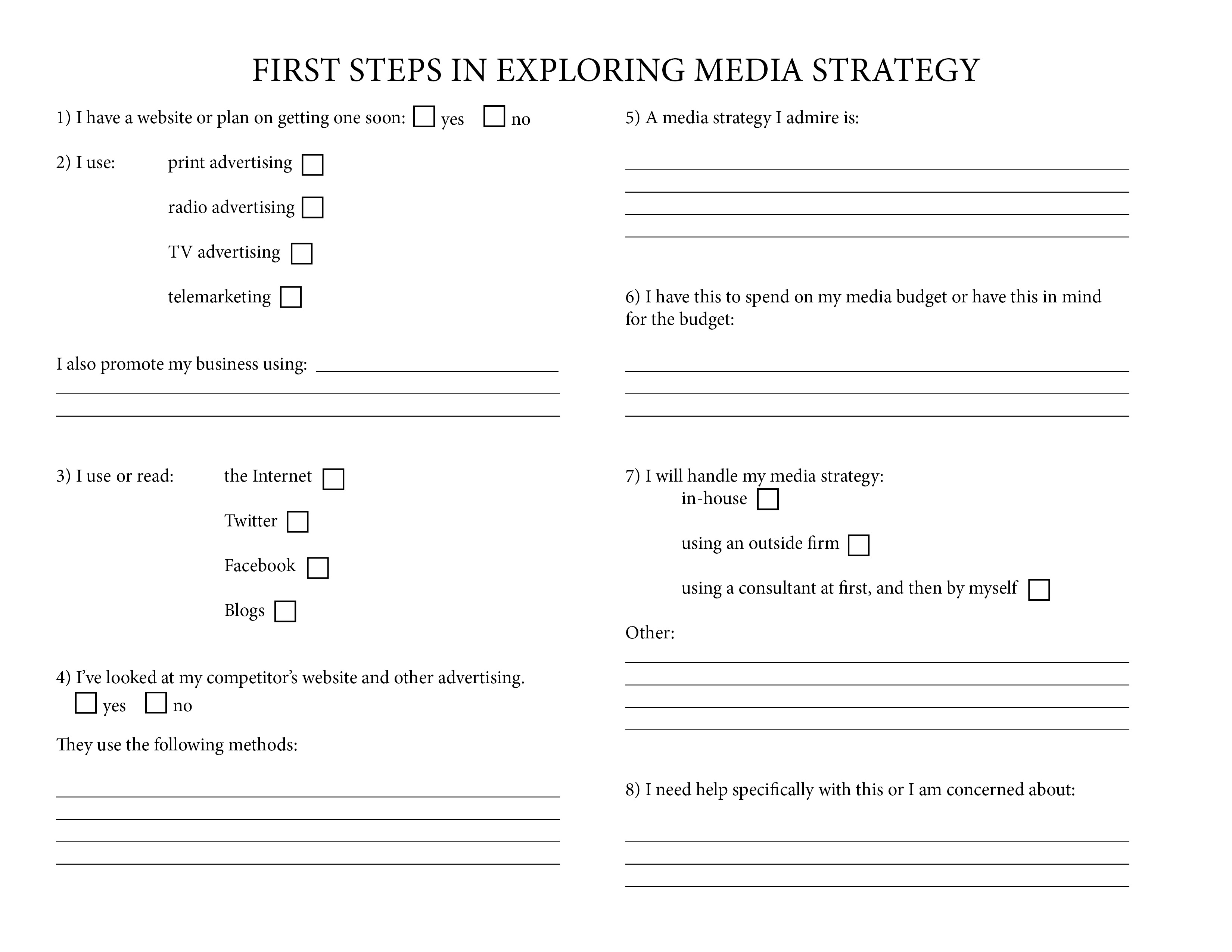 First Steps In Exploring Media Strategy