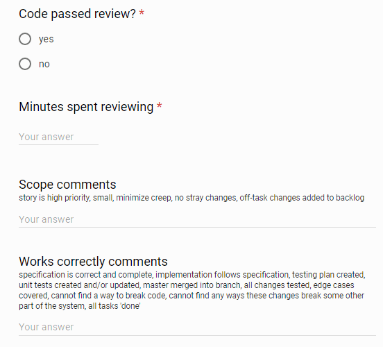 Google form for capturing the results of code reviews