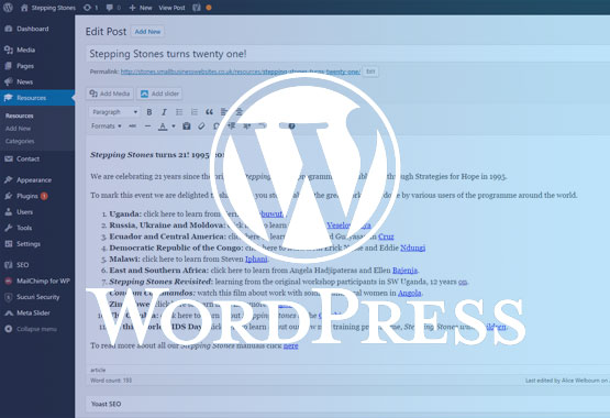 WordPress Edit Post Stepping Stones