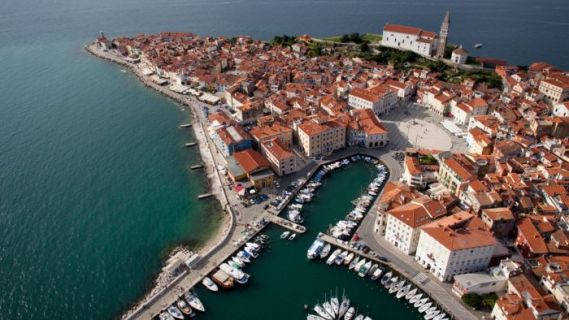 The narrow cobbled streets of Piran are typical for this part of the world.