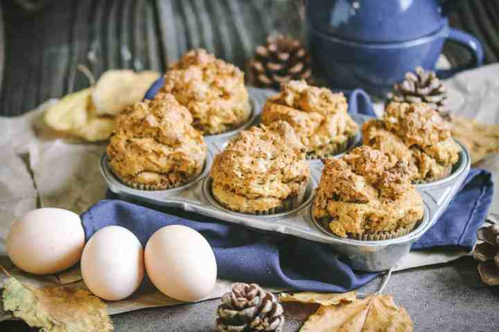 muffin tin of gluten free banana muffins