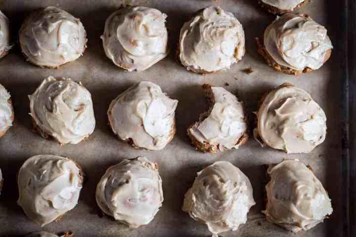 Apple Pie cookies on cookie sheet with bite taken