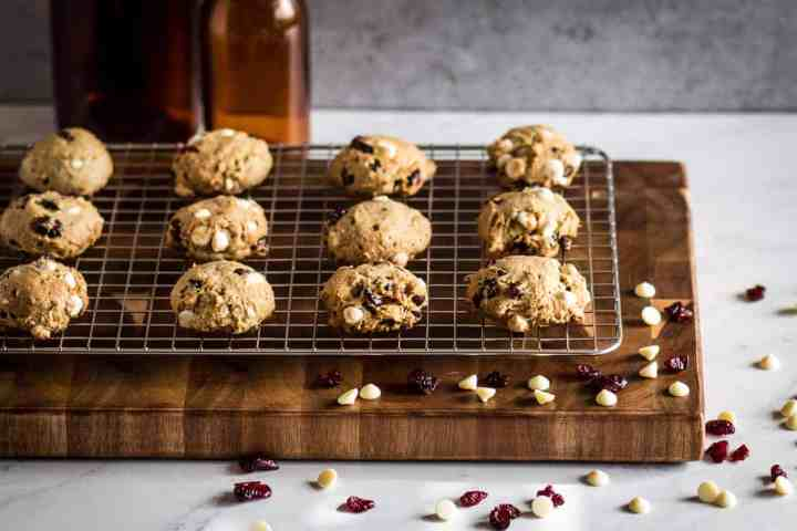 easy gluten free white chocolate cranberry cookies on a cooling rack