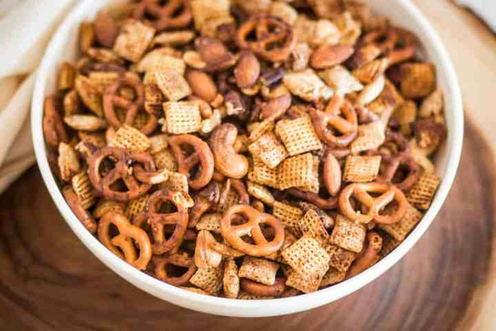 bowl of gluten free air fryer chex mix