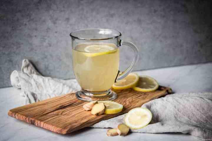 a hot mug of healthy lemon ginger tea