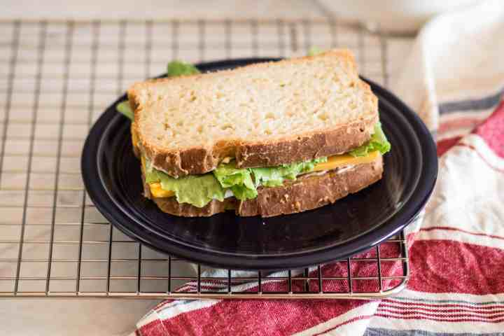 a sandwich using this gluten free sourdough bread recipe