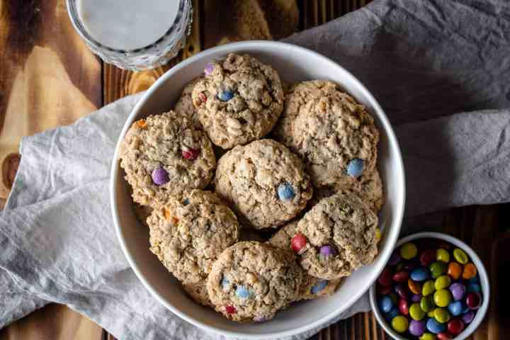 a bowl of gluten free monster cookies