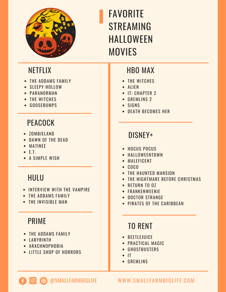 a list of my favorite Halloween movies streaming in 2020
