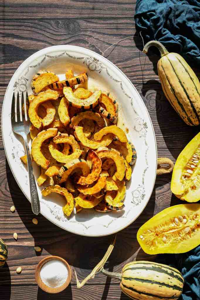 a plate of gluten free air fryer delicata squash