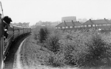 Herts Railtour approaching Abbey Stn 1955