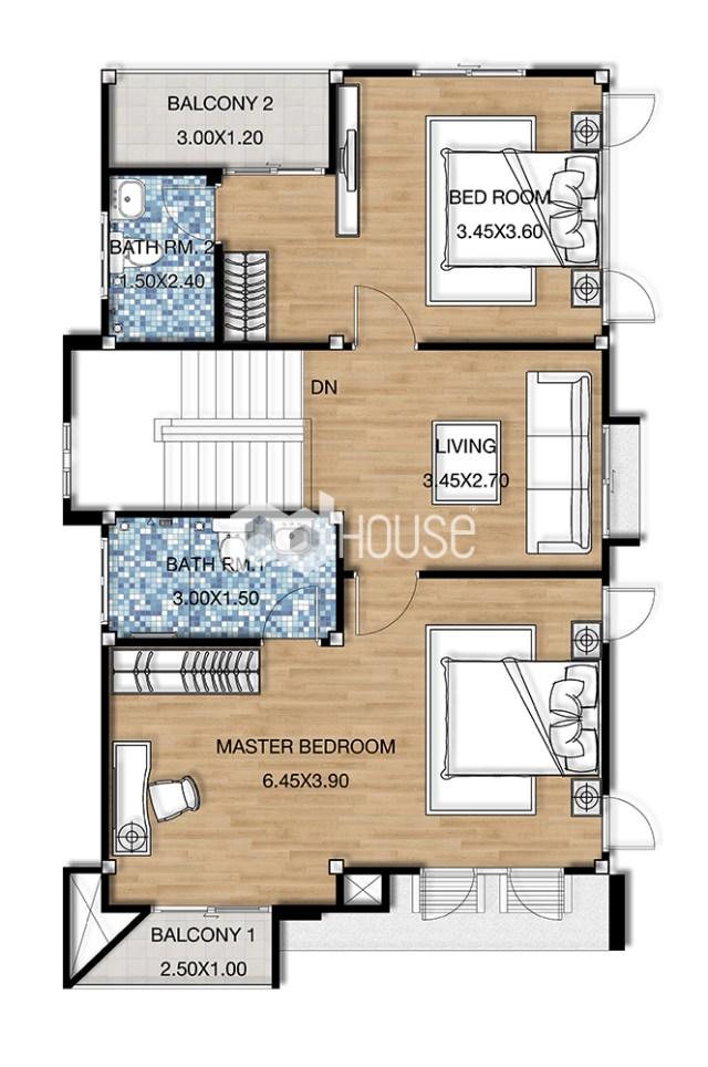 House Design Plans 6.5x11.5 Meters 2 Bedrooms first floor