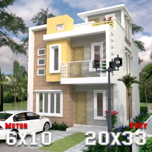 House Plan Drawing 6x10 Meters 20x33 Feet 2 Beds a1
