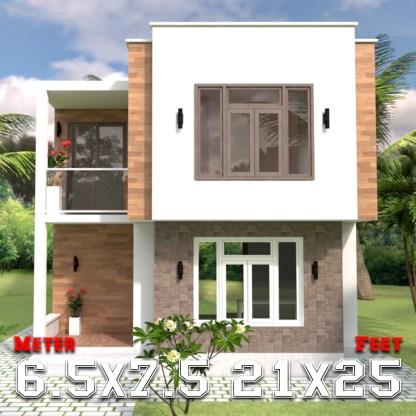 Modern House Plans 6.5x7.5m 21x25f 2 Beds a1