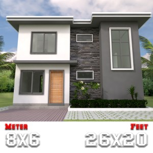 Simple House Design 8x6m with 3 Bedrooms a1