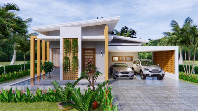 Modern House Design 12x14 Meter 40x46 Feet 2 Beds 1